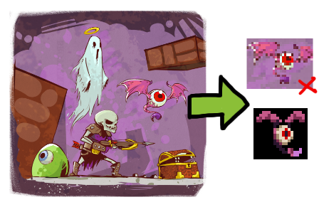 Towerfall monsters concept art and sprite
